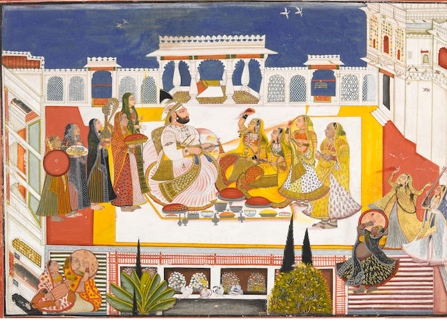 Rawat Gokal Das celebrating holi in the zenana Signed Bagta, Devgarh, dated 1808