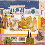 Rawat Gokal Das celebrating holi in the zenana  Signed Bagta, Devgarh, dated 18080