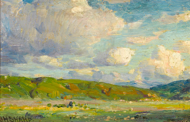 Joseph Henry Sharp (American, 1859-1953) Verdant landscape with clouds 6 x 9in