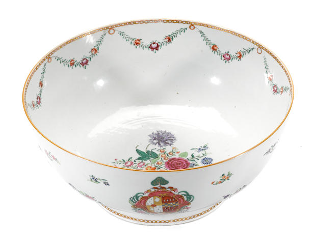 A Chinese Export porcelain punch bowl