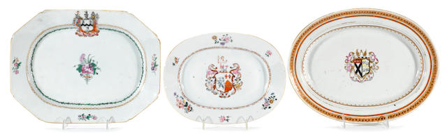Three Chinese Export porcelain armorial platters  circa 1740-1780