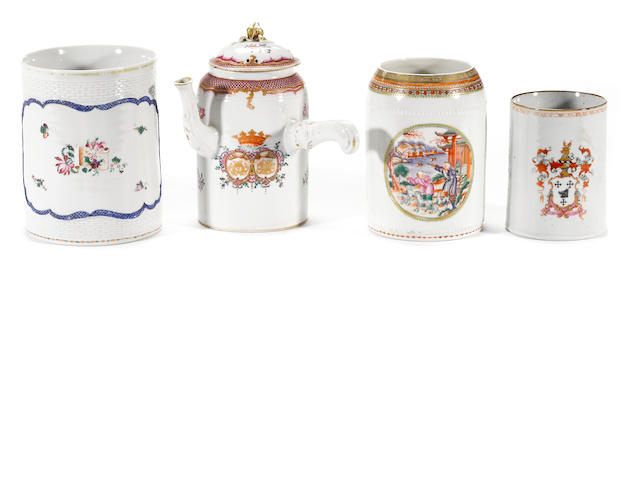 A grouping of Chinese Export porcelain comprising three tankards and one chocolate pot