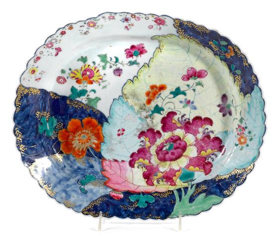 "A Chinese Export ""tobacco leaf"" porcelain platter"