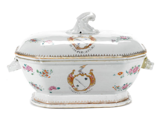 A Chinese Export porcelain armorial tureen for Auchmuty  circa 1760