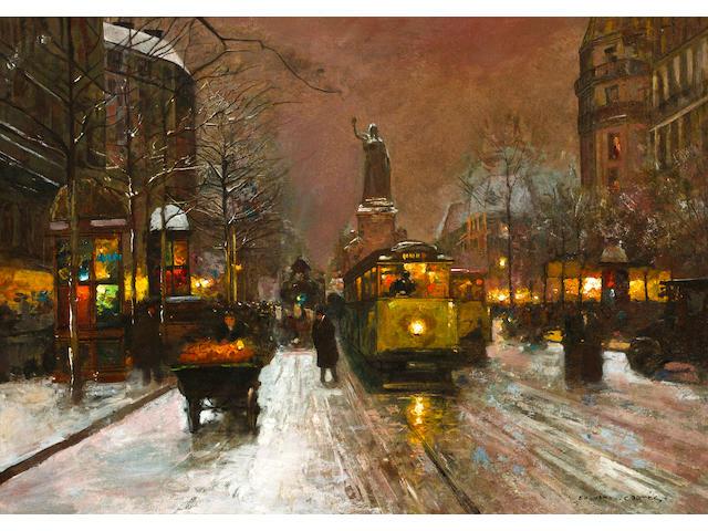Edouard Léon Cortès (French, 1882-1969) La Place de la Republique 26 x 36in (66 x 91.5cm)
