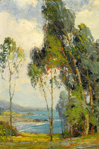 Anna Althea Hills (American, 1882-1930) Vista overlooking Laguna Beach, 1919 10 x 7in