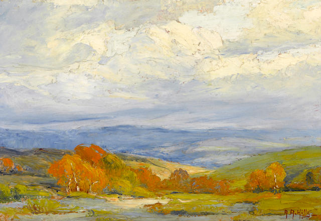 Anna Althea Hills (American, 1882-1930) Autumn in San Juan Capistrano Valley, 1919 7 x 10in