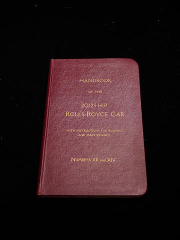 A handbook for the 20/25hp Rolls-Royce,