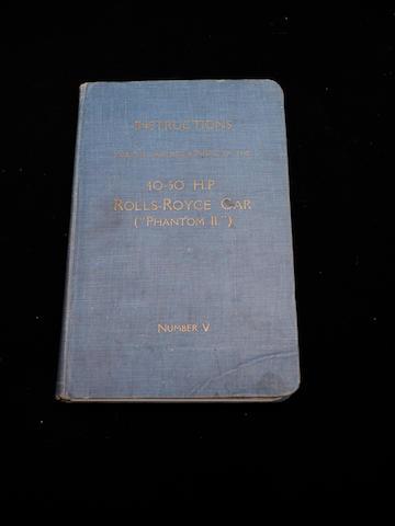 A handbook for a Rolls-Royce Phantom II,