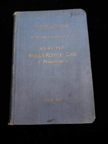 A handbook for a Rolls-Royce Phantom,