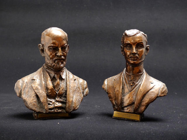A pair of busts of Charles Rolls and Frederick Royce,