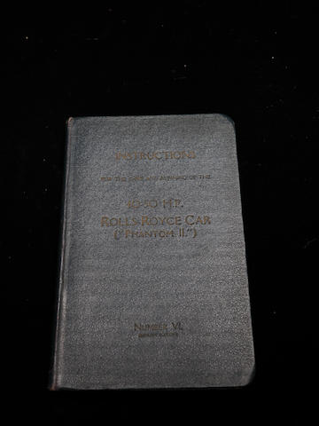 A handbook for a Rolls-Royce Phantom II,