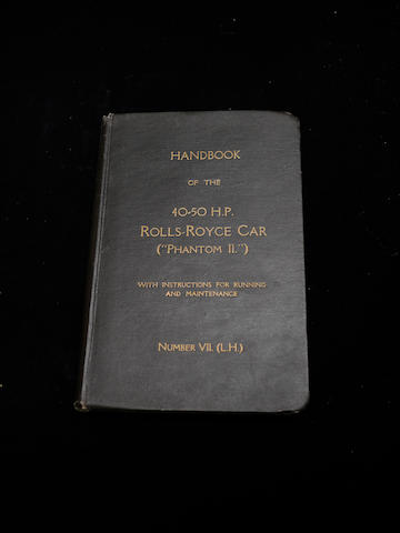 A handbook for a left hand drive Rolls-Royce Phantom II,
