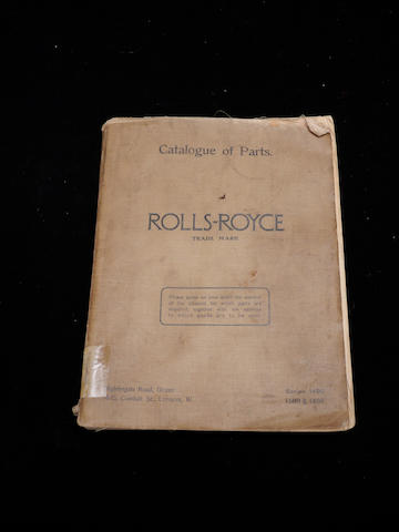 A catalog of parts for Rolls-Royce Silver Ghost,