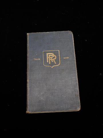 A handbook for a Rolls-Royce Silver Ghost,