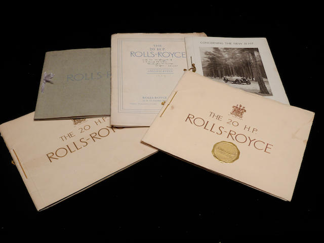 Five 20hp Rolls-Royce catalogs,