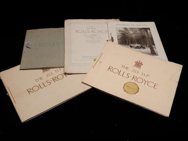 Five 20hp Rolls-Royce catalogs,