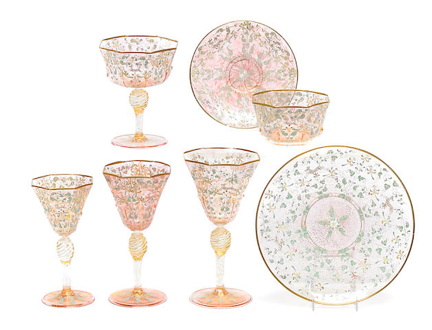 A suite of Venetian enamel decorated table glass <BR />first quarter 20th century