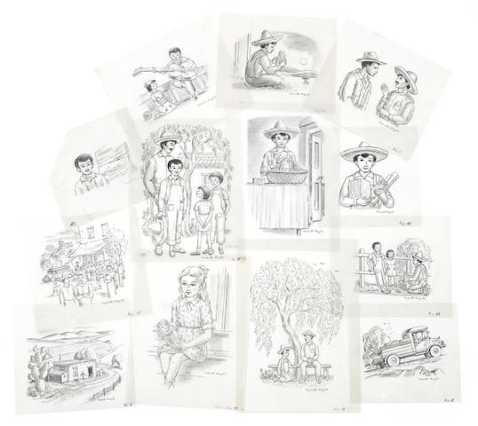 ANGELO, VALENTI. Group of original illustrations for two books.