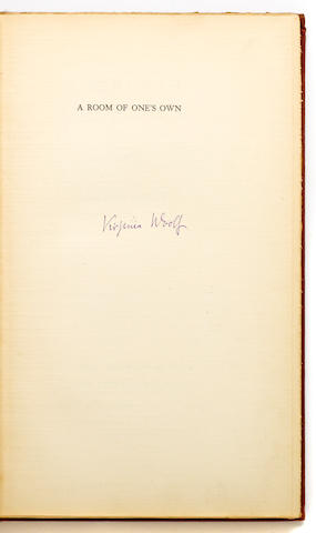 WOOLF, VIRGINIA. 1882-1941. A Room of One's Own. New York & London: The Fountain Press & The Hogarth Press, 1929.
