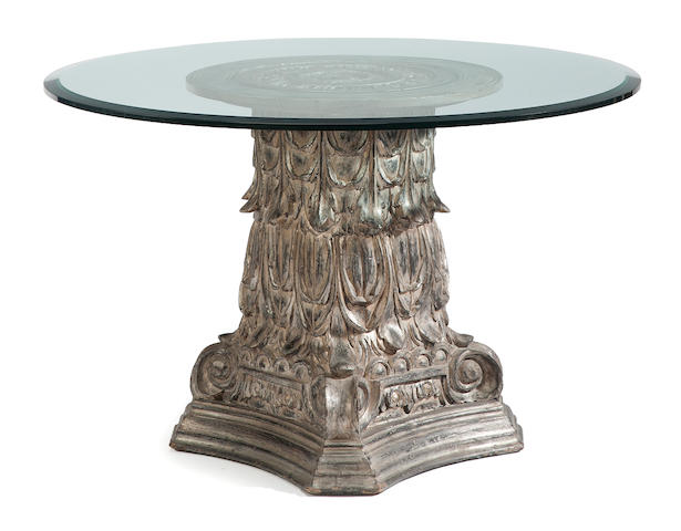 A Baroque style carved silvered wood and glass center table <BR />forth quarter 20th century