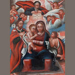 A Spanish paint decorated retablo depicting the Holy Family <BR />late 19th century