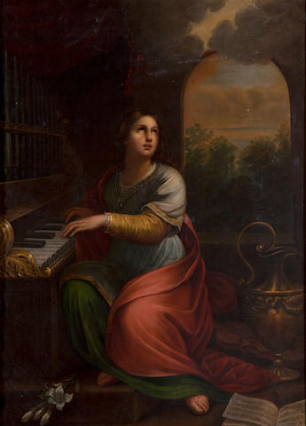 Continental school, 19th century Saint seated at a piano Oil on Canvas dimensions excluding frame 51 1/2 (129.5)x 37 1/2in (95.5cm)