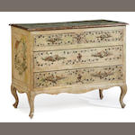An Italian Neoclassical paint decorated chest  <BR />incorporating antique and later elements