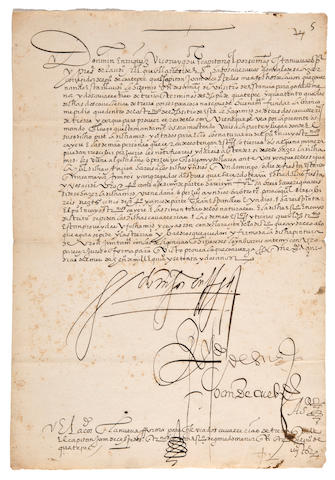 NEW SPAIN—ENRIQUEZ DE ALMANZA, MARTIN. D. 1583. Manuscript Document, Signed as Viceroy of New Spain, 1 p, small folio, n.p., 1572,