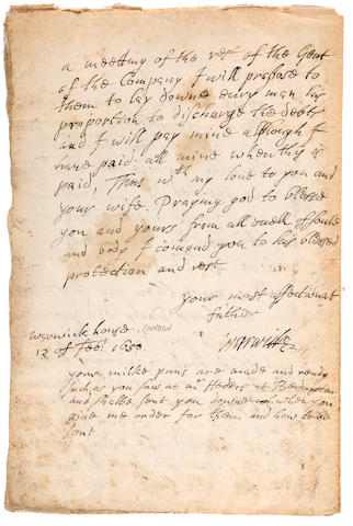 "VIRGINIA COMPANY. RICH, ROBERT, EARL OF WARWICK. 1587-1658. Letter Signed (""Warwick""), 2 pp recto and verso, folio (integral blank), Warwick House, 1650, to his son-in-law, Edward Montagu, Earl of Manchester,"