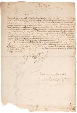 "TREASURE FLEET—PHILIP II, KING OF SPAIN. 1527-1598. Manuscript Document Signed (""Yo El Rey""), 1 p, small folio, Madrid, 14 October 1572,"