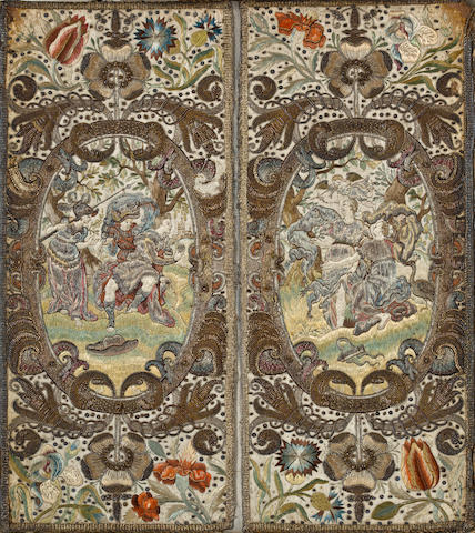 A pair of Flemish silk and metallic thread embroidered mythological panels 17th century