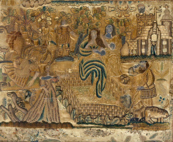 A William and Mary or Early Queen Anne silk embroidered and stumpwork garden scene stitched as David and Bathsheba circa 1700