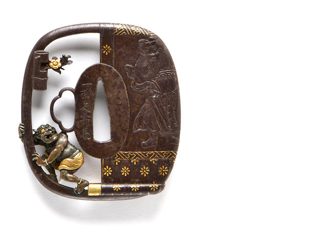 A Mito school iron tsuba By Ichiryu Tomohisa, 19th century