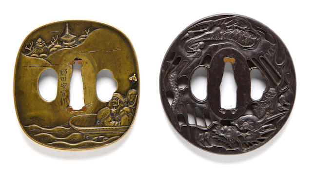 A sentoku tsuba and an iron tsuba The first by Noda Yasunobu, late 18th century; the second by Magoyuki, 19th century