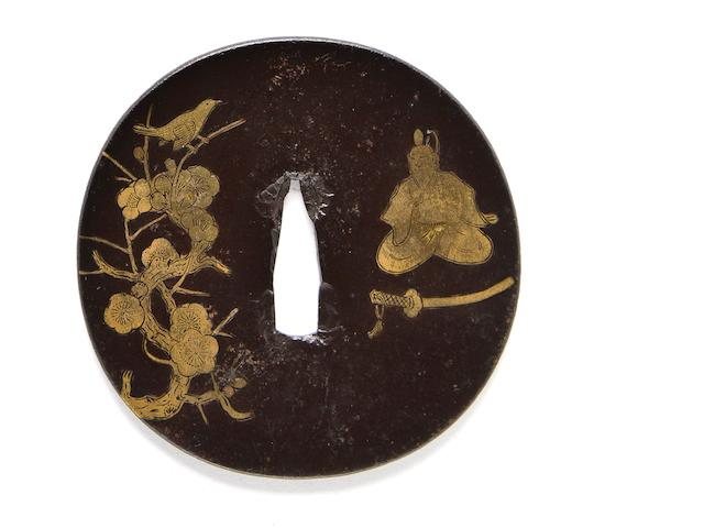 An inlaid iron tsuba 17th-18th century