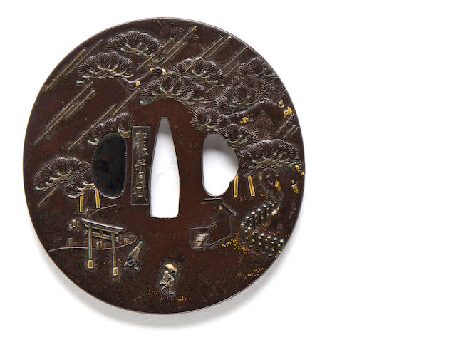 An inlaid iron tsuba By Kato Munechika, 19th century
