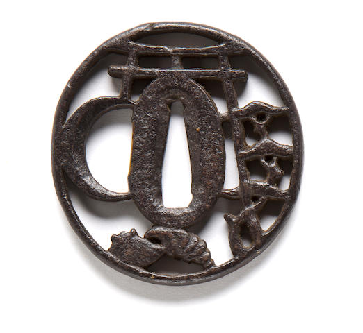 A Kanayama-style iron tsuba 18th century