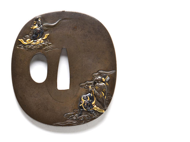 A small kinko tsuba By Kato Teruaki, late 19th century