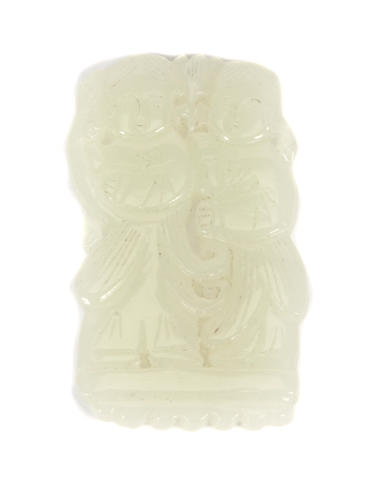 A reticulated white jade plaque