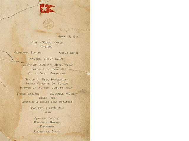 [R.M.S. Titanic] a dinner menu, dated April 12th 1912<BR /> 6 x 4 in. (sight)