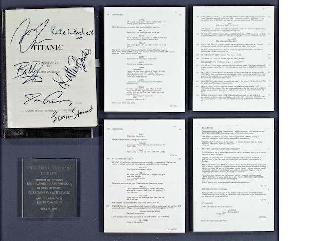 A framed signed script and other documents of the 1997 Titanic movie