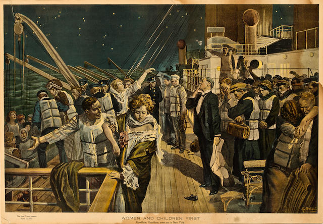 "A lithograph scene of the <i>Titanic</i> ""Women and Children First"""