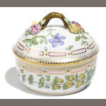 A Royal Copenhagen porcelain Flora Danica large covered sugar bowl <BR />date code for 1985-1991