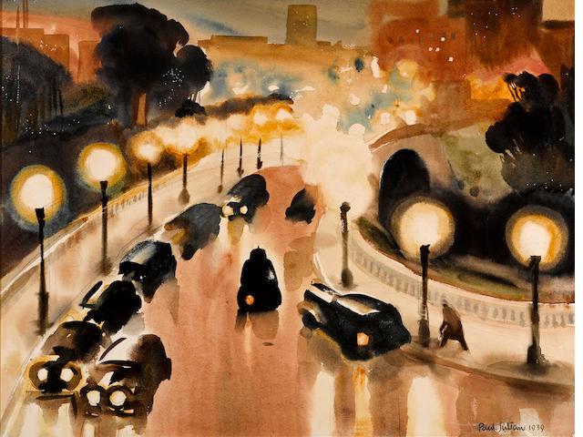 Paul Hull Julian (American, 1914-1995) Wilshire, 1939 sight: 17 1/2 x 23in