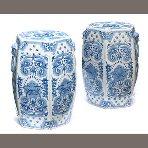 A pair of Chinese porcelain hexagonal garden seats