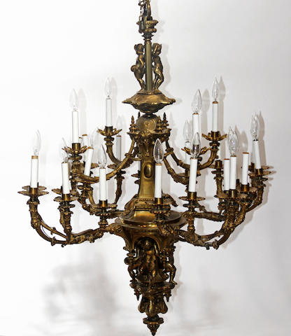 A Louis IVX style gilt bronze twenty light chandelier first half 20th century