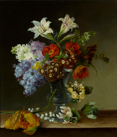 Hermania Sigvardine Neergard (Danish, 1799-1874) A still life with lilac, honeysuckle, lilies-of-the-valley and other blossoms in a crystal vase 17 1/4 x 15in (43.8 x 38.1cm)