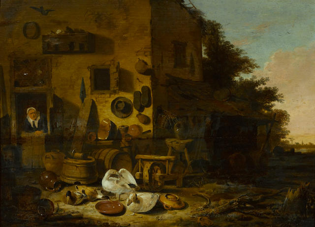 Egbert Lievensz. van der Poel (Delft 1621-1664 Rotterdam) A kitchen maid at the doorway of a farmhouse with ducks and geese in the foreground 18 1/4 x 25in (46.3 x 63.5cm)