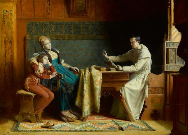Carl Probst (Austrian, 1854-1924) Bygone days 18 3/4 x 25 3/4in (47.6 x 65.4cm)